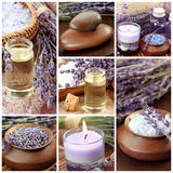 Lavender spa collage. Close up Stock Image