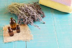 Lavender spa concept. Lavender natural cosmetic for skin care Stock Photography