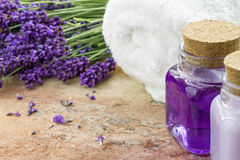 Lavender spa cosmetic products royalty free stock photos