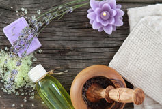 Lavender spa with essential oil Stock Image