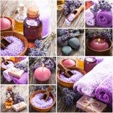 Lavender spa. Essential oil, seasalt, violet towels and handmade soap Royalty Free Stock Images