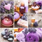 Lavender spa. Essential oil, seasalt, violet towels and handmade soap Royalty Free Stock Image