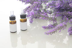 Lavender spa oil with blank ticket Stock Photos