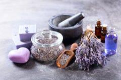Lavender Spa Producten Stock Afbeeldingen