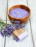 Lavender spa products Royalty Free Stock Images
