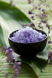 Lavender Spa Salt. In a bowl Royalty Free Stock Photo