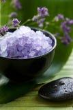 Lavender Spa Salt. In a bowl Stock Images