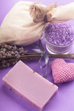Lavender spa set Royalty Free Stock Images
