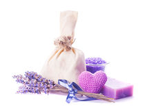 Lavender spa set isolated Stock Images