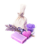 Lavender spa set isolated Stock Photography