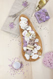 Lavender spa set on linen Royalty Free Stock Photo