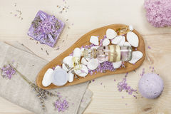 Lavender spa set on linen Stock Photos