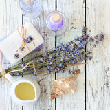 Lavender spa set with soap, lavender flowers, salt and oil Royalty Free Stock Photo
