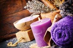 Lavender spa setting Stock Image