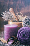 Lavender spa setting Stock Photography
