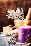 Lavender spa setting stock photos