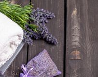 Lavender spa setting. Wellness theme with lavender products. Lavender spa setting. Wellness theme with lavender product stock photo