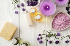 Lavender SPA. SPA still life. cosmetics and aromatherapy candle. flat lay Royalty Free Stock Photo