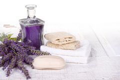 Lavender spa still life. With soap, towels, and loofah Royalty Free Stock Photos