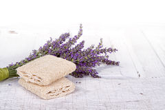 Lavender spa still life. With loofah, on antique or vintage door Stock Photo