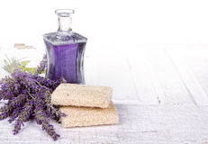 Lavender spa still life. With loofah, on antique or vintage door Royalty Free Stock Image