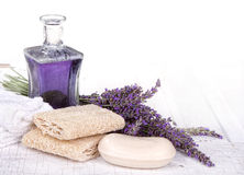 Lavender spa still life. With soap, towels, and loofah Stock Photos