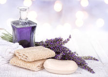 Lavender spa still life. With soap, towels, and loofah Royalty Free Stock Photo