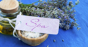 Lavender spa still life with label, lavender flowers and oil bot Stock Image