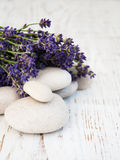 Lavender and spa stones Royalty Free Stock Image
