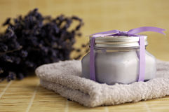 Lavender Spa Treatment. On bamboo Stock Photo