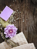 Lavender spa wooden background Stock Photos