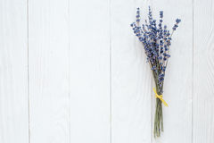 Lavender spring design with flowers on white background top view mock up Stock Images
