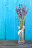 Lavender still-life on the blue background Royalty Free Stock Photo