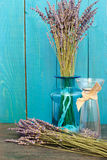 Lavender still-life on the blue background Stock Photography