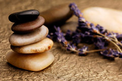 Lavender and Stones Royalty Free Stock Image