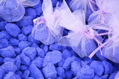 Lavender stones for spa Stock Photos