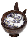 Lavender sugar in bowl, isolated on white Royalty Free Stock Images