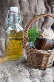 Lavender syrup and fig jam. Homemade lavender syrup and fig jam Royalty Free Stock Photos