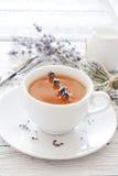 Lavender tea. Cup of lavender tea and lavender flowers stock image