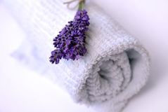 Lavender and towel royalty free stock images