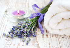 Lavender and Towel Royalty Free Stock Photo