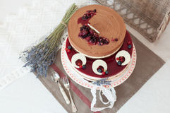 Lavender two levels cake Royalty Free Stock Photo
