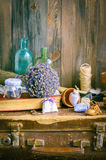 The lavender vintage composition on a table Stock Photos