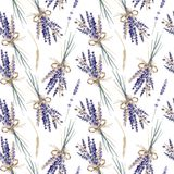 Lavender watercolor hand painted provence seamless pattern bouquet royalty free illustration