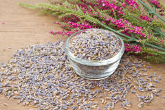 Lavender went on the wooden background Stock Images