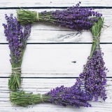 Lavender on wood background. With copy-space Royalty Free Stock Photo