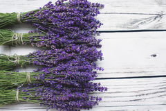Lavender on wood background. With copy-space Stock Photos