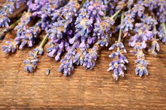 Lavender on a wooden background Royalty Free Stock Photos