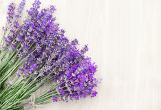 Lavender on a wooden desk. Royalty Free Stock Images
