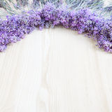 Lavender on a wooden desk. Royalty Free Stock Photo